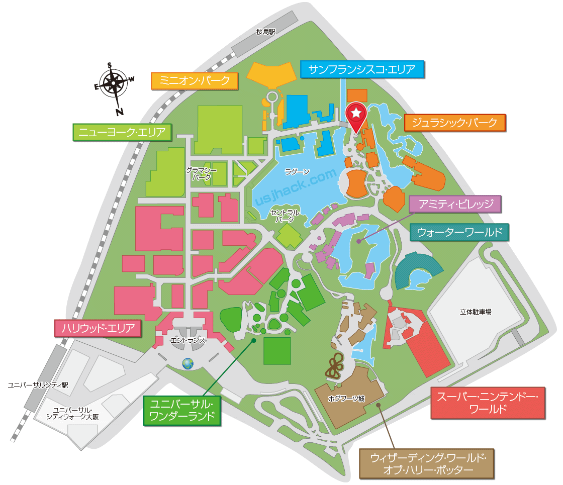 USJフライングダイナソーの場所がわかるマップ