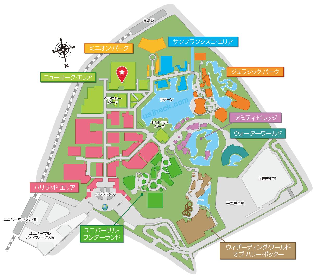 USJスパイダーマンの地図