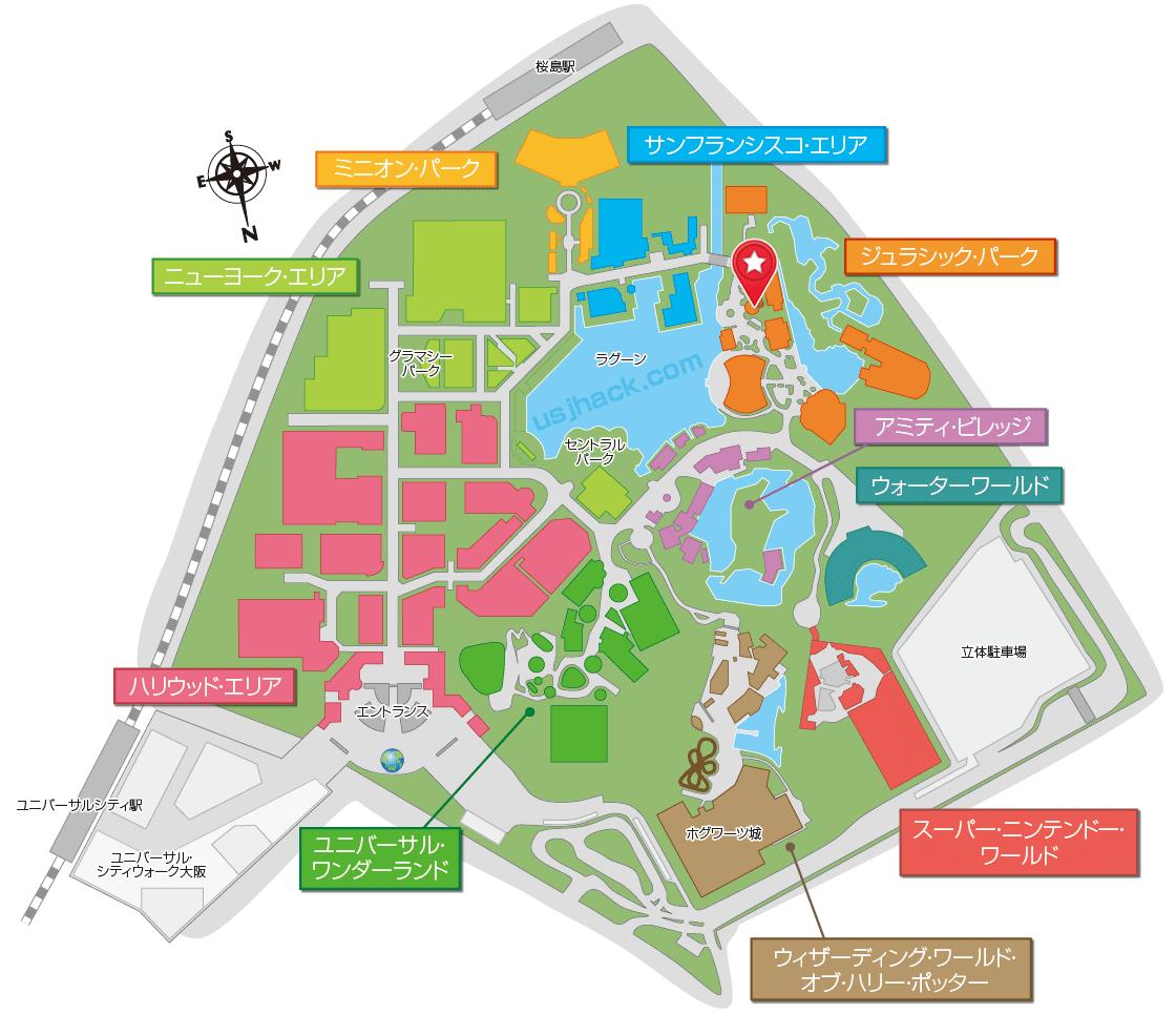 USJジュラシックパークザライドの場所がわかるマップ