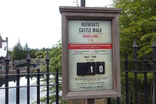 ホグワーツ・キャッスルウォークの待ち時間
