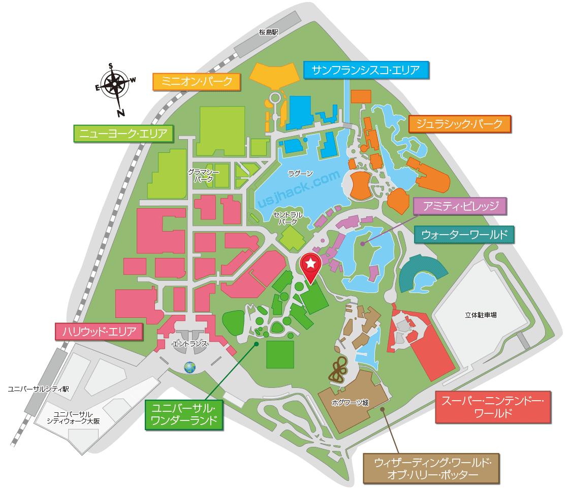 USJスヌーピースタジオストアの場所がわかるマップ