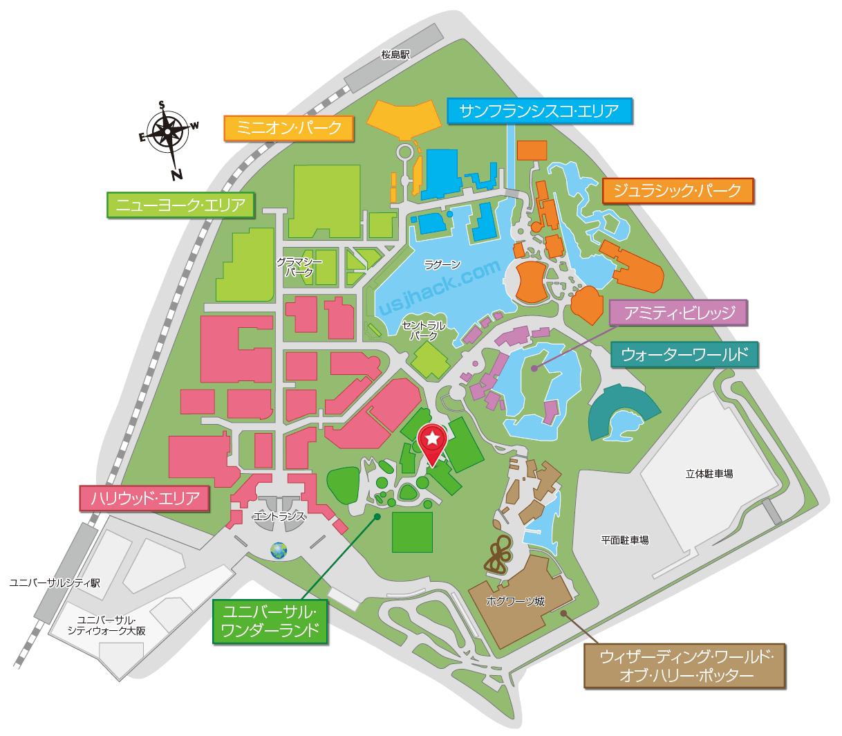 マップで確認するハローキティのリボンコレクションの場所