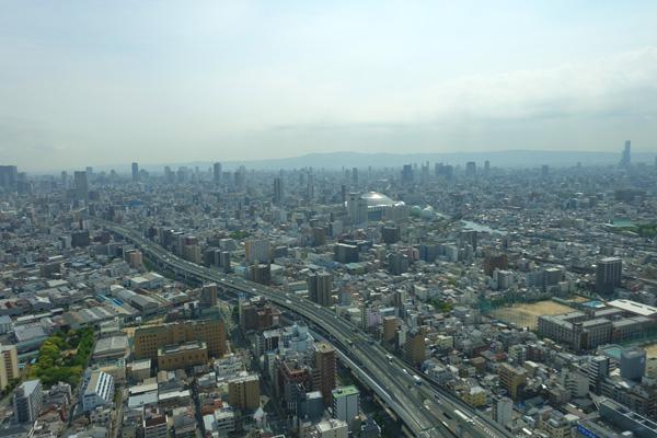 エアシップから眺める大阪市内の景観