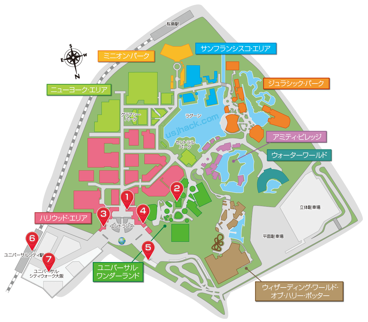 USJのコインロッカーの場所を示したマップ