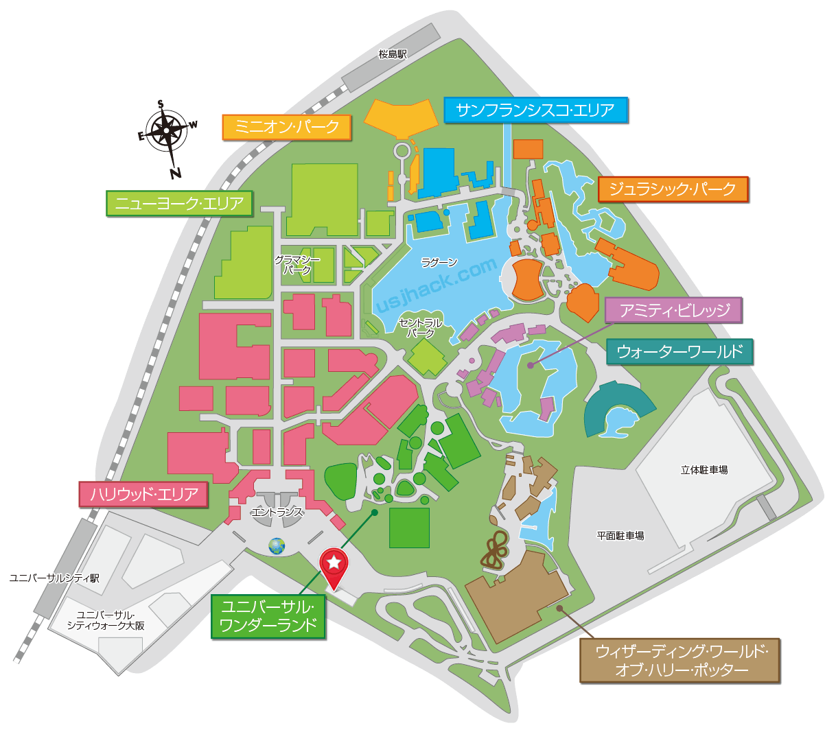USJパーク外の「ノース・ロッカー」の場所を示したマップ