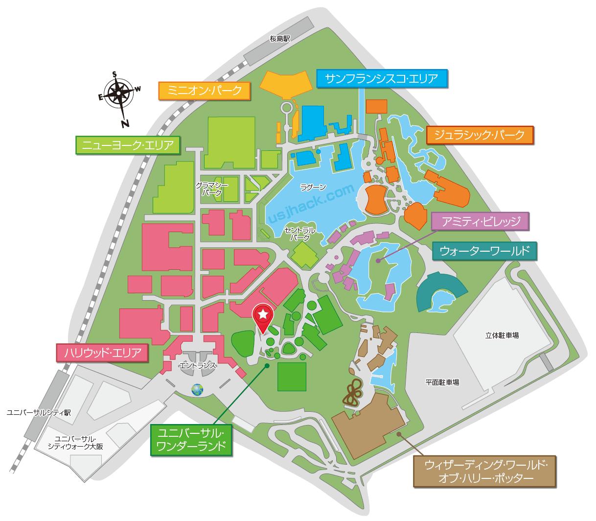 USJウォーターガーデンの地図・場所