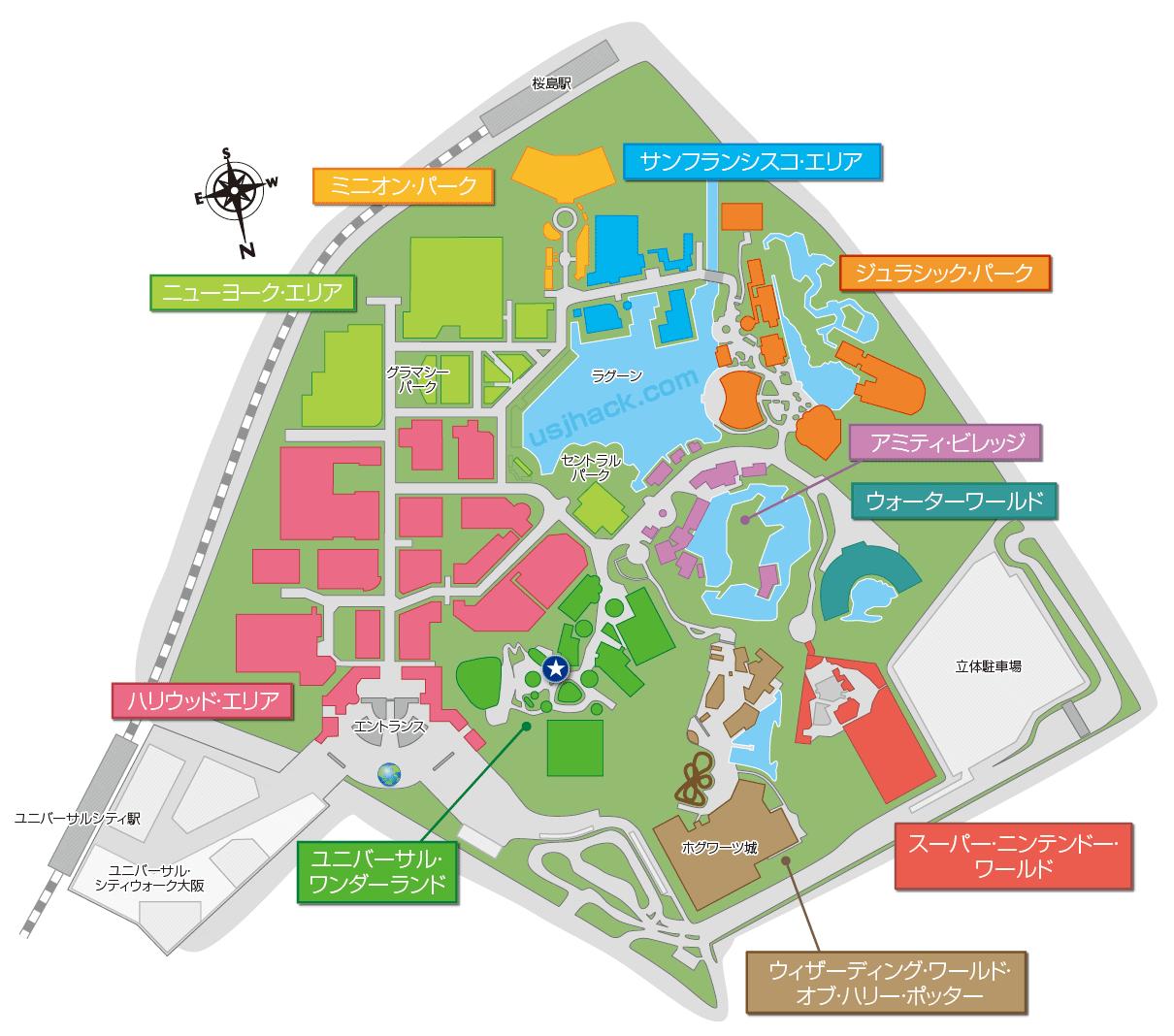マップでみるUSJカーニバルゲーム「ビンゴビンゴ」の場所