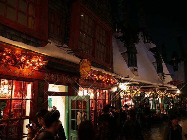 夜のハリーポッターエリアのクリスマス