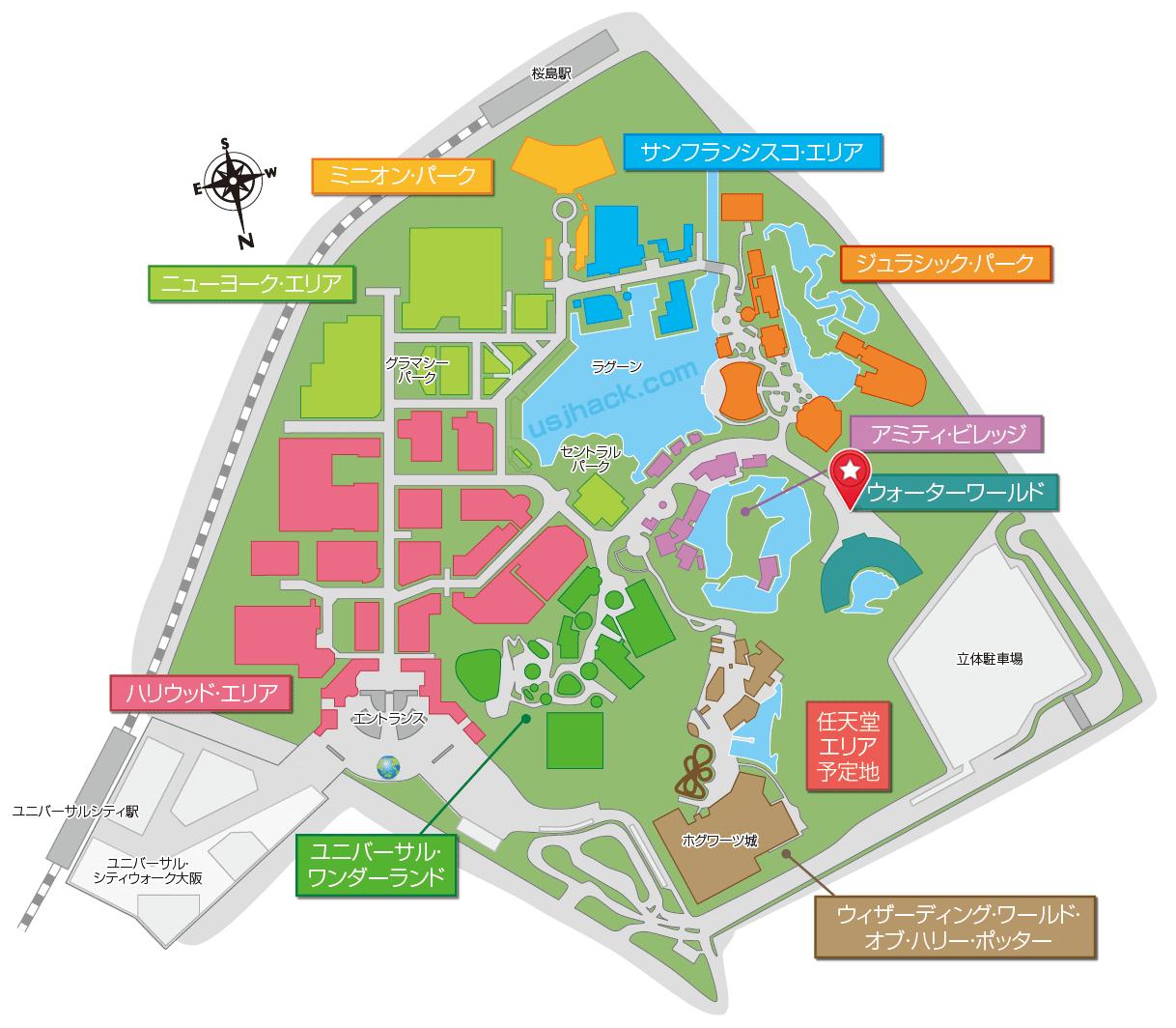 マップで確認するワンピースウォーターバトルの開催場所