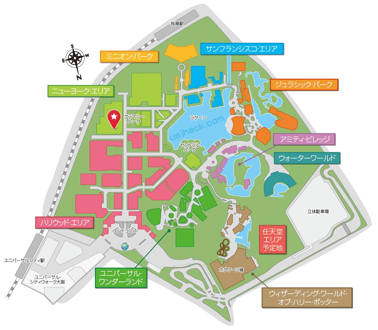 USJ貞子の開催場所マップ