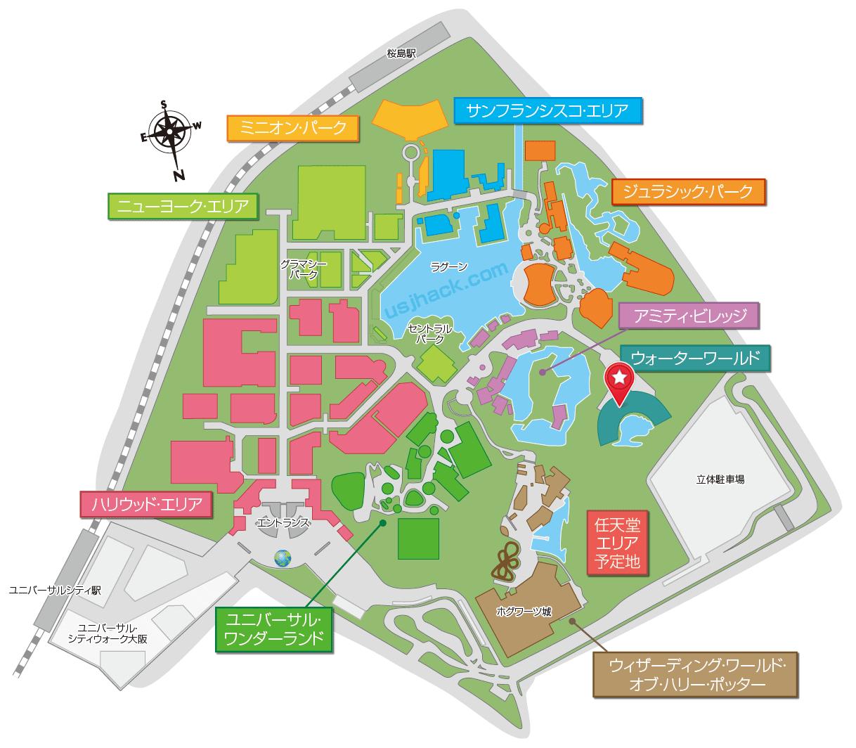 マップで確認するワンピースウォーターバトル2019の開催場所