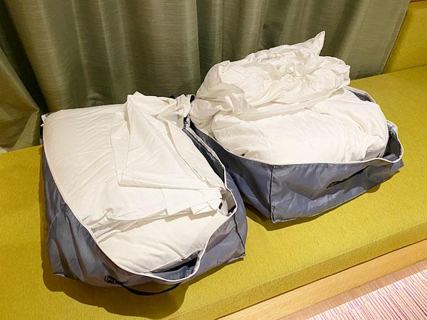 【USJシンギュラリホテル】寝具袋を開けたところ