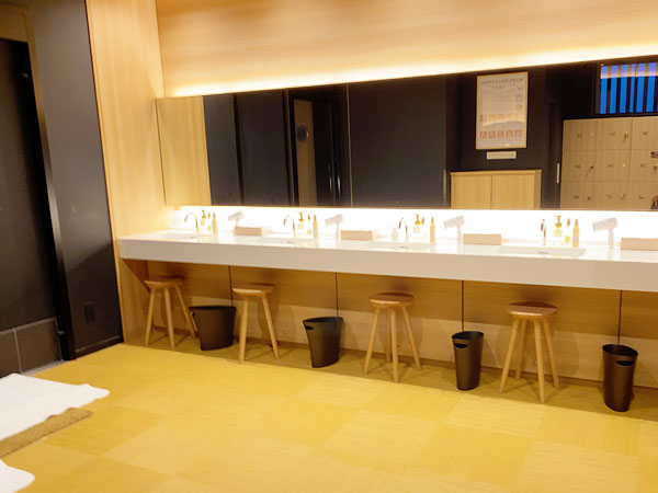 【USJシンギュラリホテル大浴場スカイスパ】洗面台