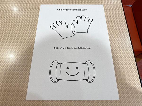 ビニール手袋とマスクを置いておくための紙