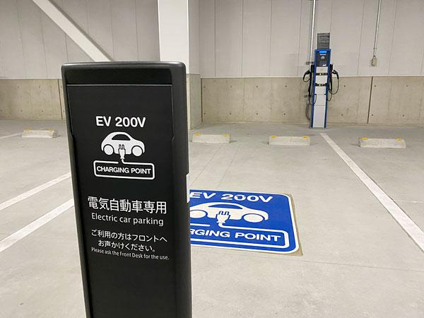 リーベルホテル駐車場の電気自動車用駐車スペース