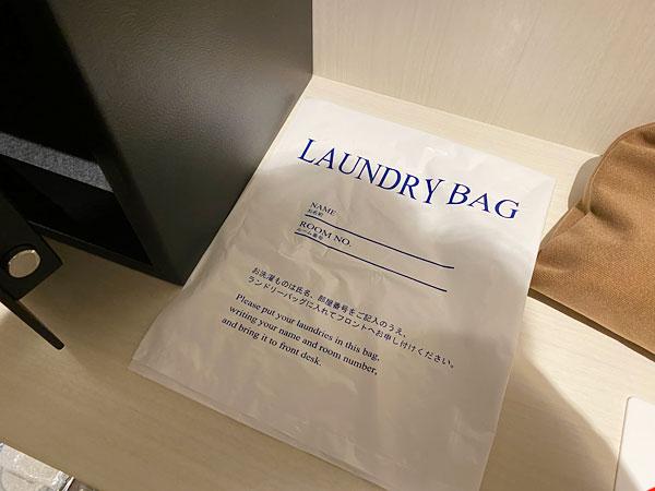 リーベルホテルの部屋に用意されているランドリーバッグ