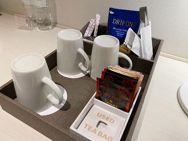 【リーベルホテルの部屋】カップやコーヒー