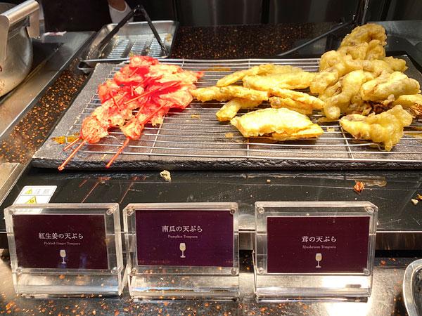 天ぷら(紅生姜、かぼちゃ、茸)