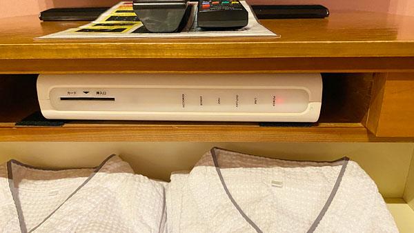 【ホテルシーガルてんぽーざん大阪】テレビ台下のビデオカードマシン
