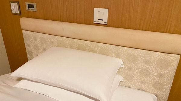ホテルシーガルてんぽーざん大阪のヘッドボードと照明スイッチ