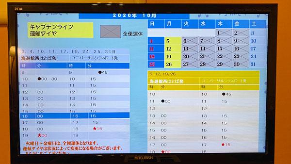 【ホテルシーガルてんぽーざん大阪】キャプテンラインのダイヤ