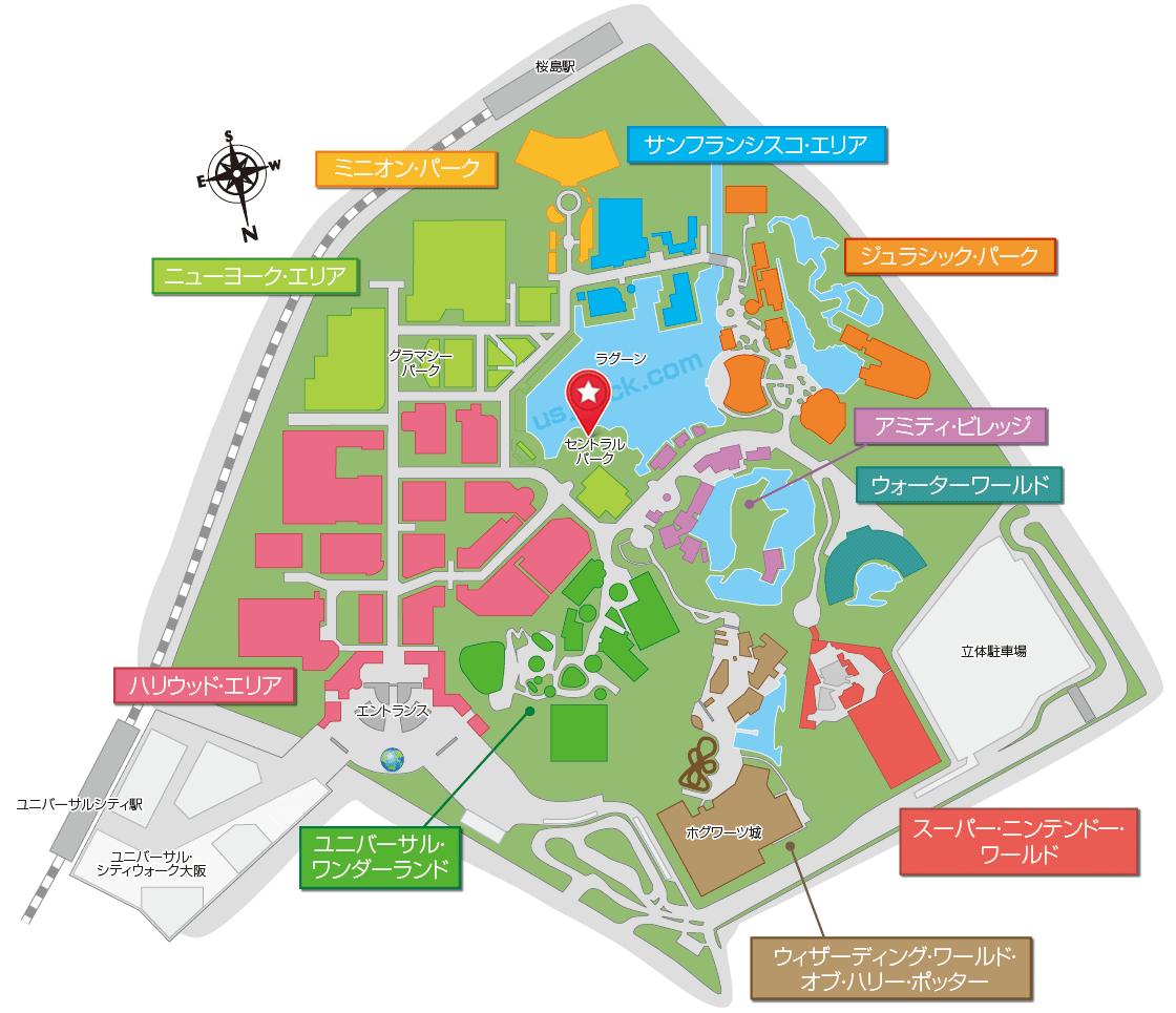 USJニンテンドーワールドの発券機のあるセントラルパークの場所がわかるマップ