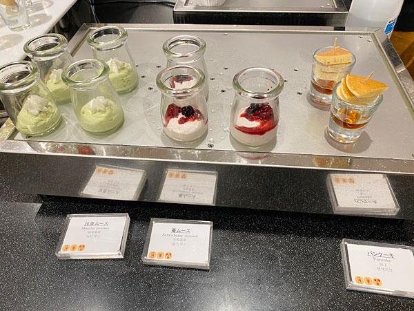 抹茶ムース、苺ムース、パンケーキ【クインテッサホテル大阪ベイの朝食ブッフェ】