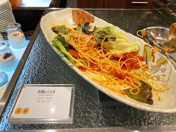 【クインテッサホテル大阪ベイの朝食ブッフェ】冷製パスタ