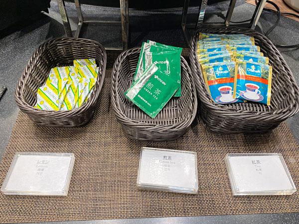 レモン、煎茶、紅茶【クインテッサホテル大阪ベイの朝食ブッフェ】