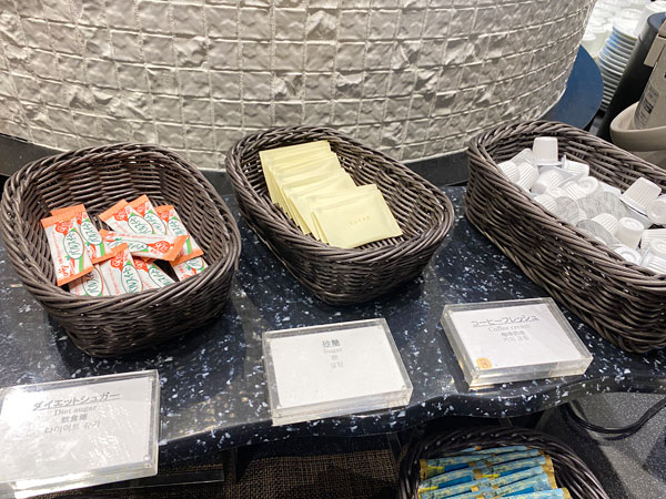 ダイエットシュガー、砂糖、コーヒーフレッシュ【クインテッサホテル大阪ベイの朝食ブッフェ】