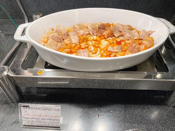 ロテサリーチキンとチリビーンズ【クインテッサホテル大阪ベイの朝食ブッフェ】