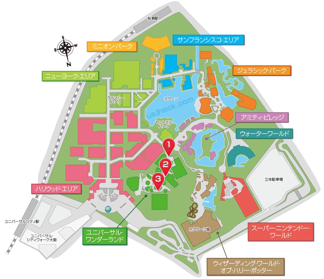 USJイースターのショーが楽しめる場所がわかるマップ