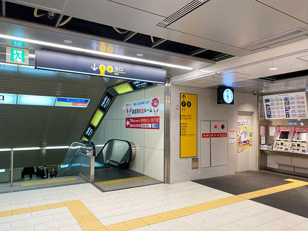 ホテル日航大阪から心斎橋駅の改札はすぐ