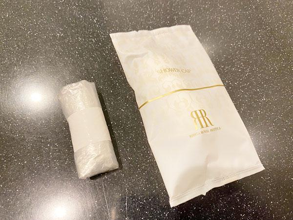 リーガロイヤルホテル大阪のアメニティ(浴室の方のシャワーキャップ)