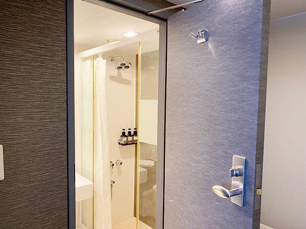 入り口付近の洗面所とシャワーブース(リーガロイヤルホテル大阪)