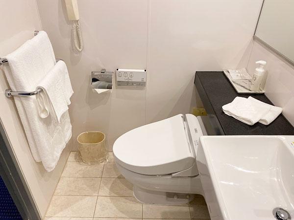 シャワーブース側見た手間の洗面所とトイレ