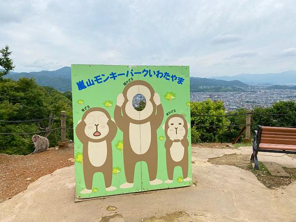 嵐山モンキーパークの記念撮影スポット
