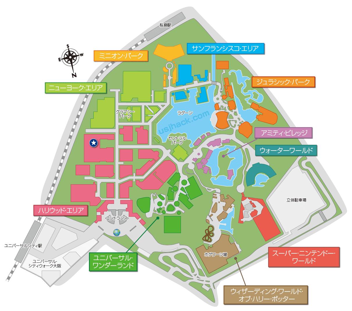 USJ鬼滅の刃XRライドの開催場所マップ
