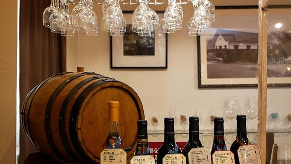丹波ワインのテイスティングエリア